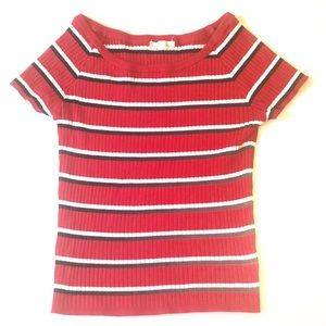 PacSun LA Hearts Red Black Striped Ribbed Shirt L